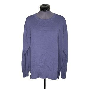 Guilty Blue Ribbed Detailing Crewneck Pullover